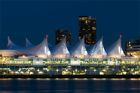 lights on the sails of canada place in vancouver, british columbia
