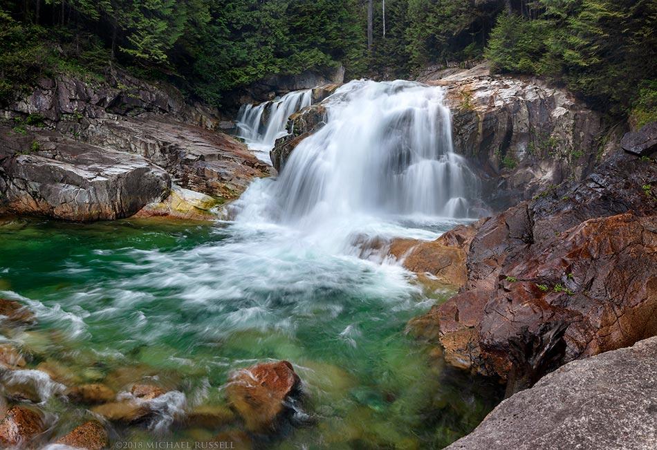 lower falls on gold creek in golden ears park
