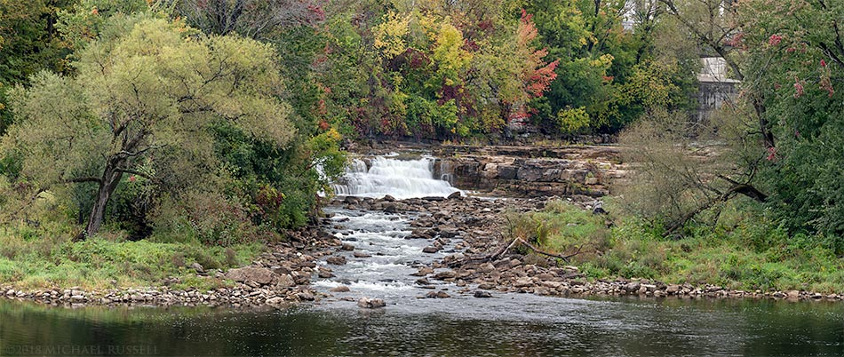 fall foliage and waterfall in almonte ontario