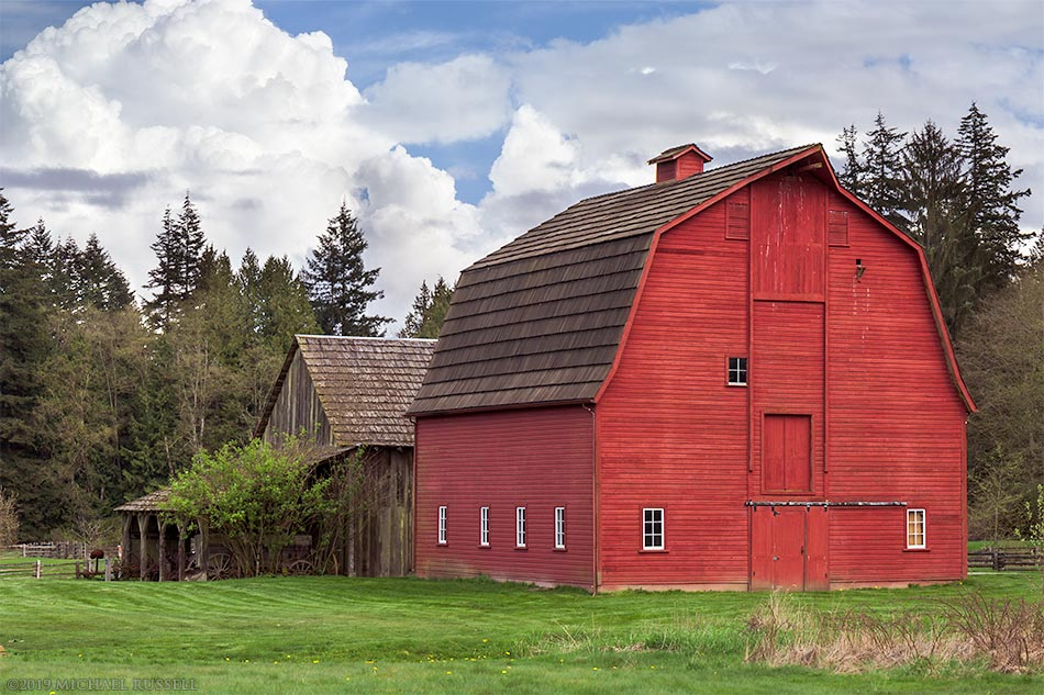 gabel and gambrel roofed barns on the annand rowlatt farmstead in langley