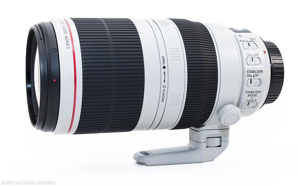 Canon EF 100-400mm f/4.5-5.6L IS II on side