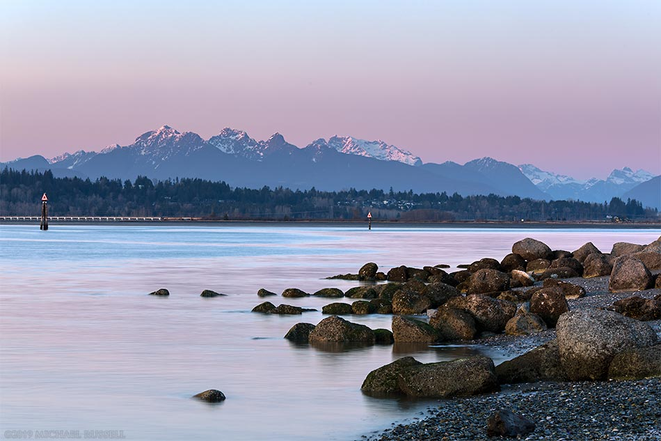 sunset golden ears at crescent beach blackie spit