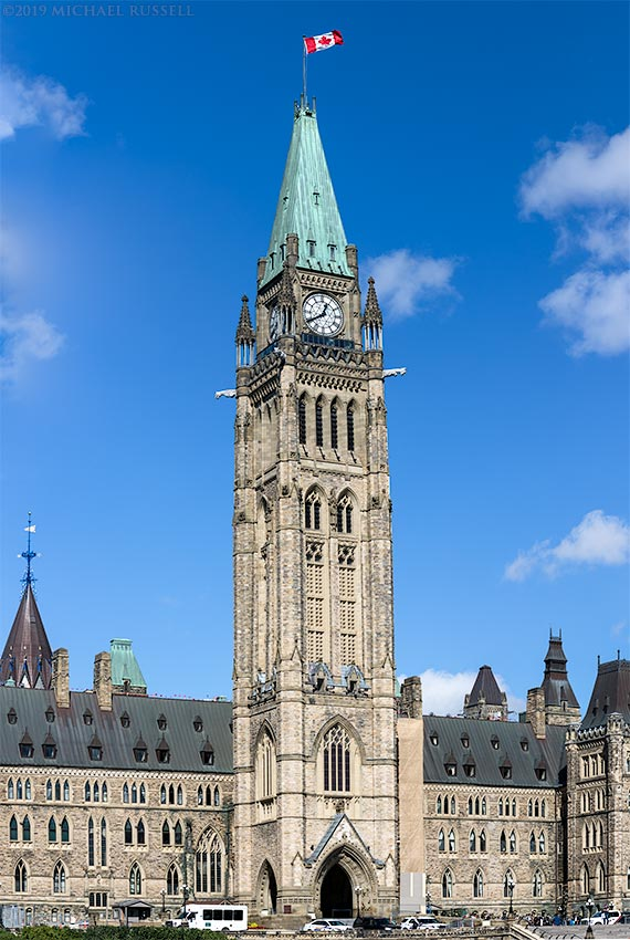 peace tower at canadian parliament buildings in ottawa canada