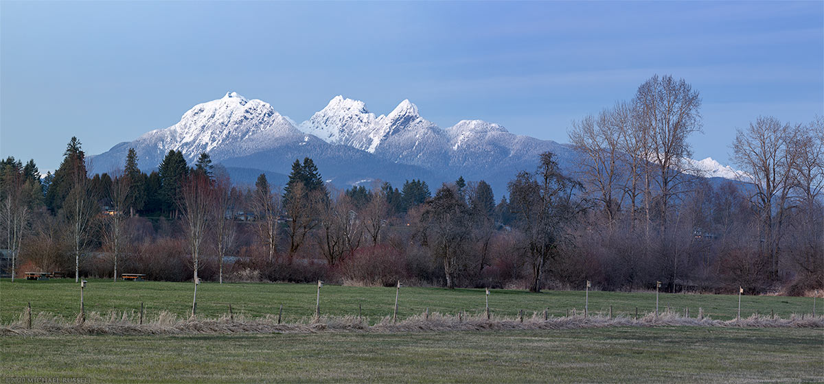 golden ears and derby reach regional park in early evening