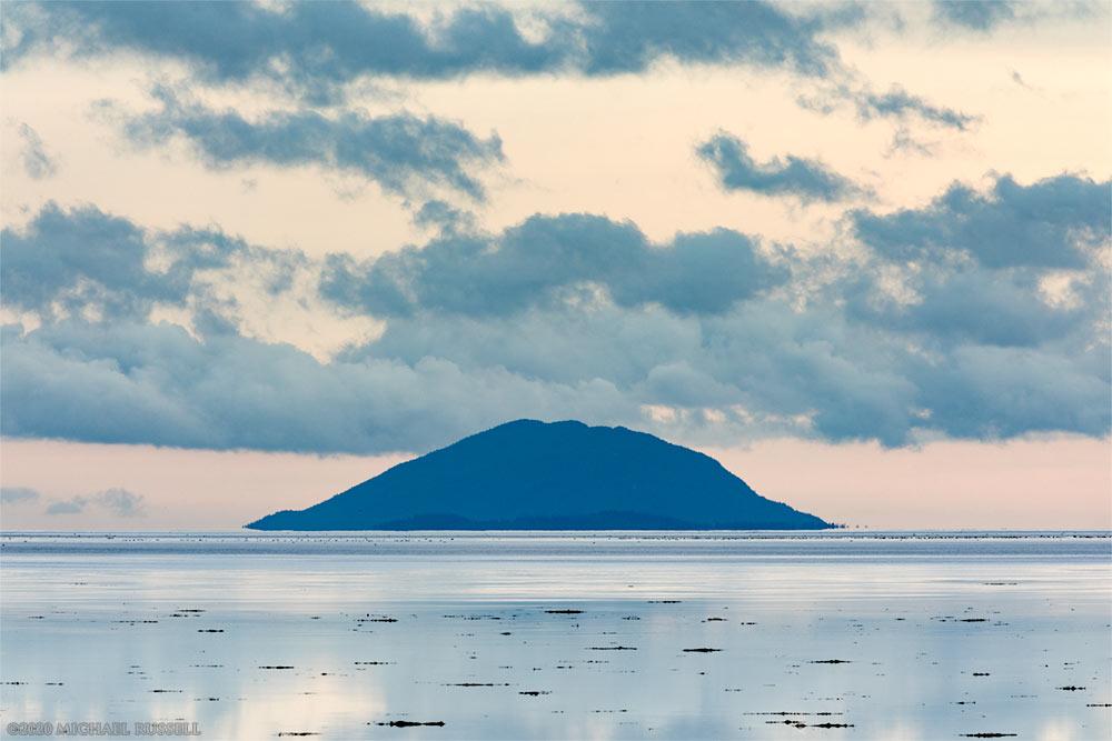 lummi peak on lummi island from boundary bay